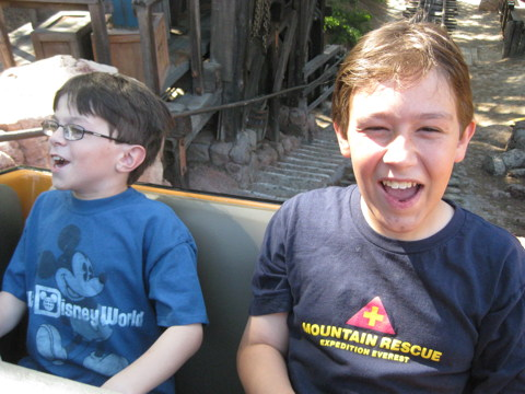Quinn and Riley on Big Thunder Mountain Railroad